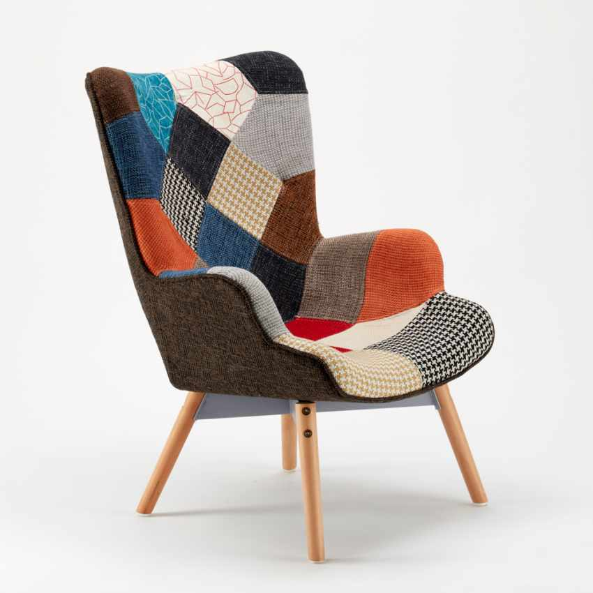 Sofa Chair Patchwork Scandinavian Padded Living Offices PATCHY - image