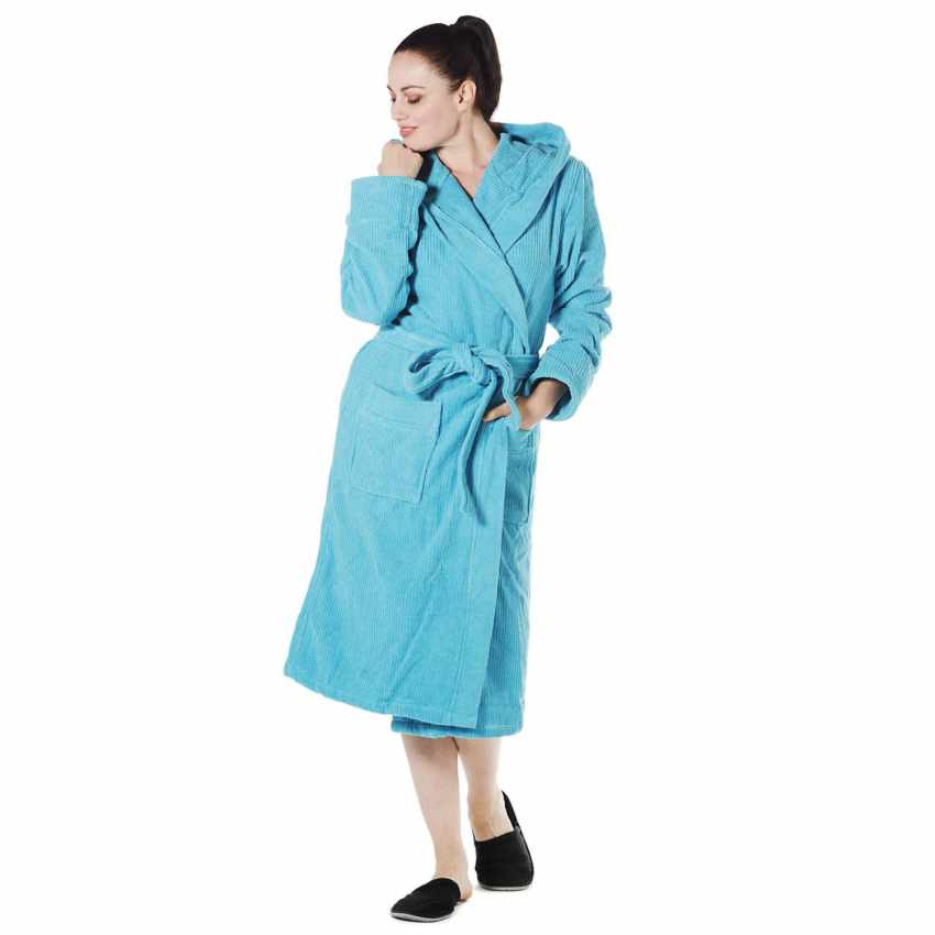 Ribbed Jacquard Svad Dondi bathrobe with Hood Pockets Unisex - arredamento