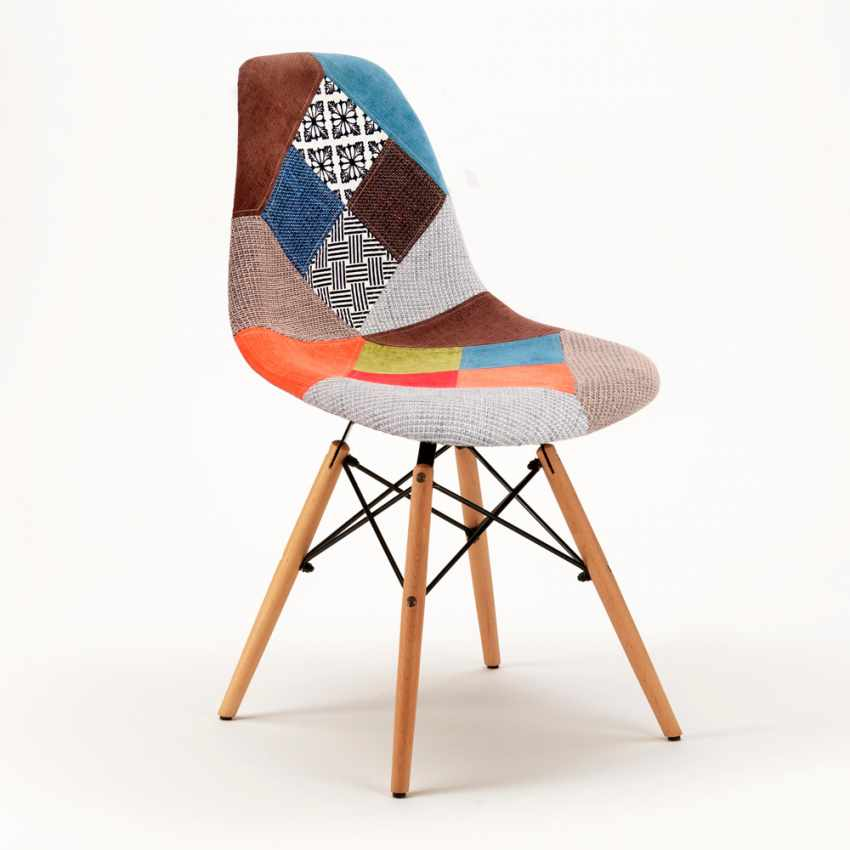 Chaise DSW PATCHWORK Design Scandinave Pour Bar Bureau Et Salon