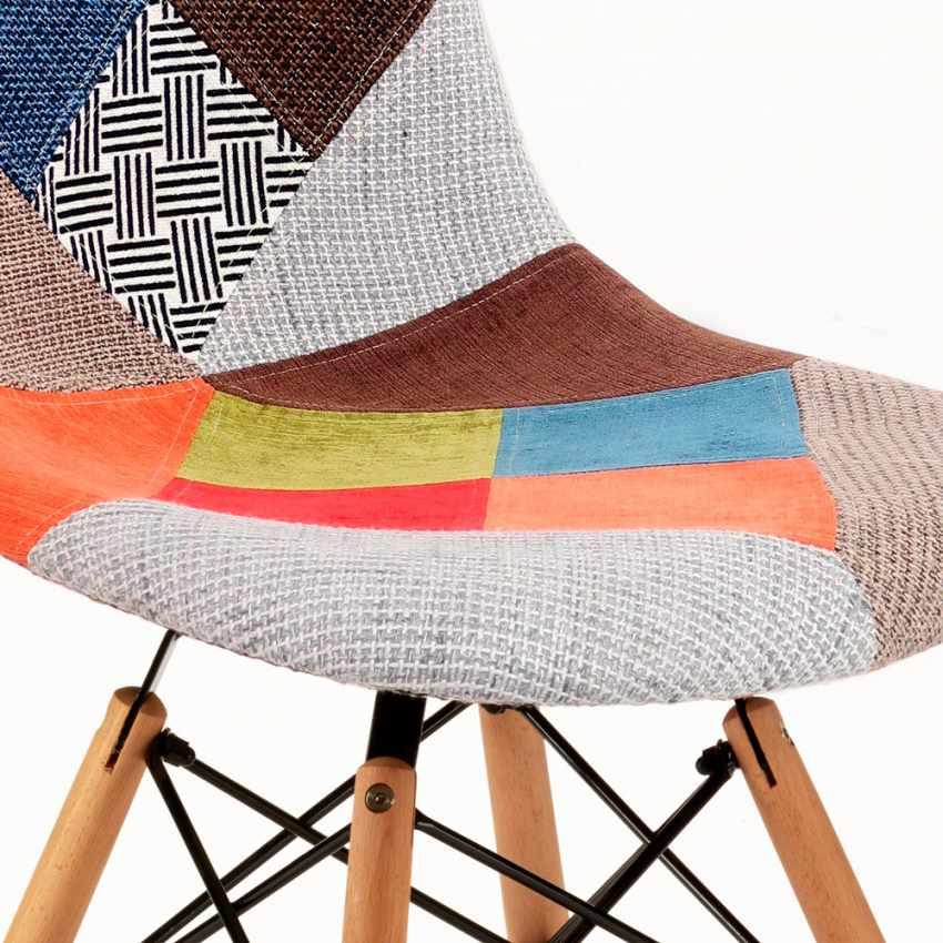 Chaise DSW PATCHWORK Design Scandinave pour Bar Bureau et Salon - photo