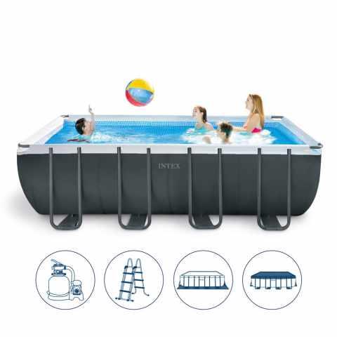 intex    graphite panel pool aufstellpool rund