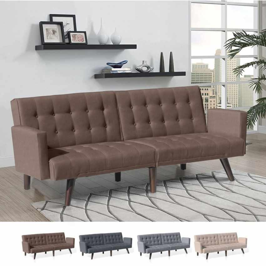 Divano letto reclinabile 3 posti in tessuto rialzato ELIODORO - indoor
