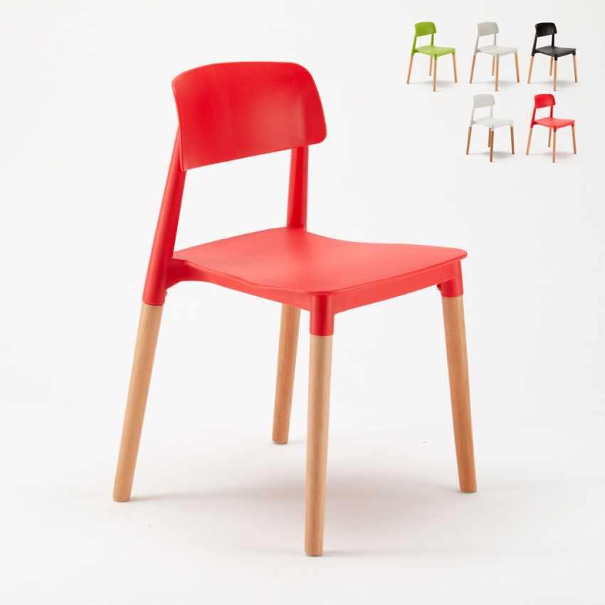 Sedie Bar Legno.Stock 20 Sedie Bar Polipropilene E Legno Design Moderno Barcellona