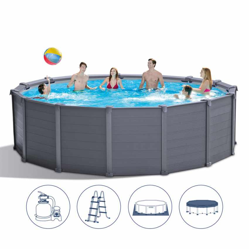 Piscina fuori terra in grafite Intex 26384 ex 26382 Rotonda 478x124 cm - price
