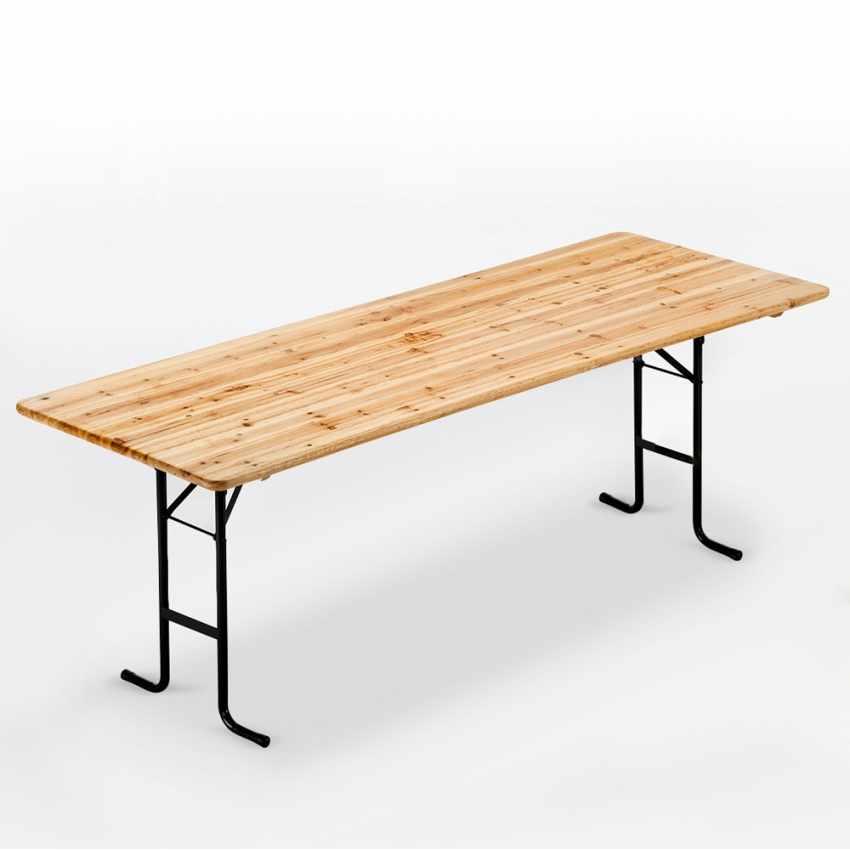 Gambe In Ferro Per Tavoli Di Legno.Tavolo In Legno Con Gambe In Ferro 220x80 Per Giardino Feste Sagre