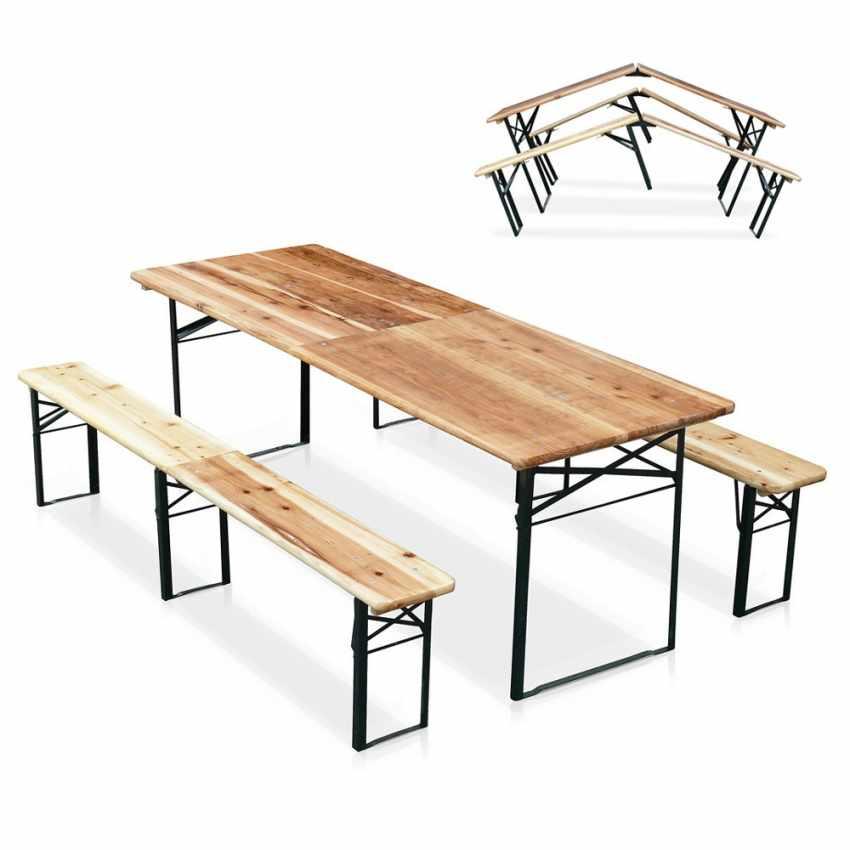 Table de brasserie pliante bancs bois ensemble 220x80 - forniture