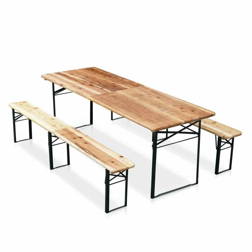 Table de brasserie pliante bancs bois ensemble 220x80 - sales