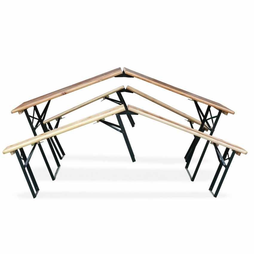 Table de brasserie pliante bancs bois ensemble 220x80 - photo