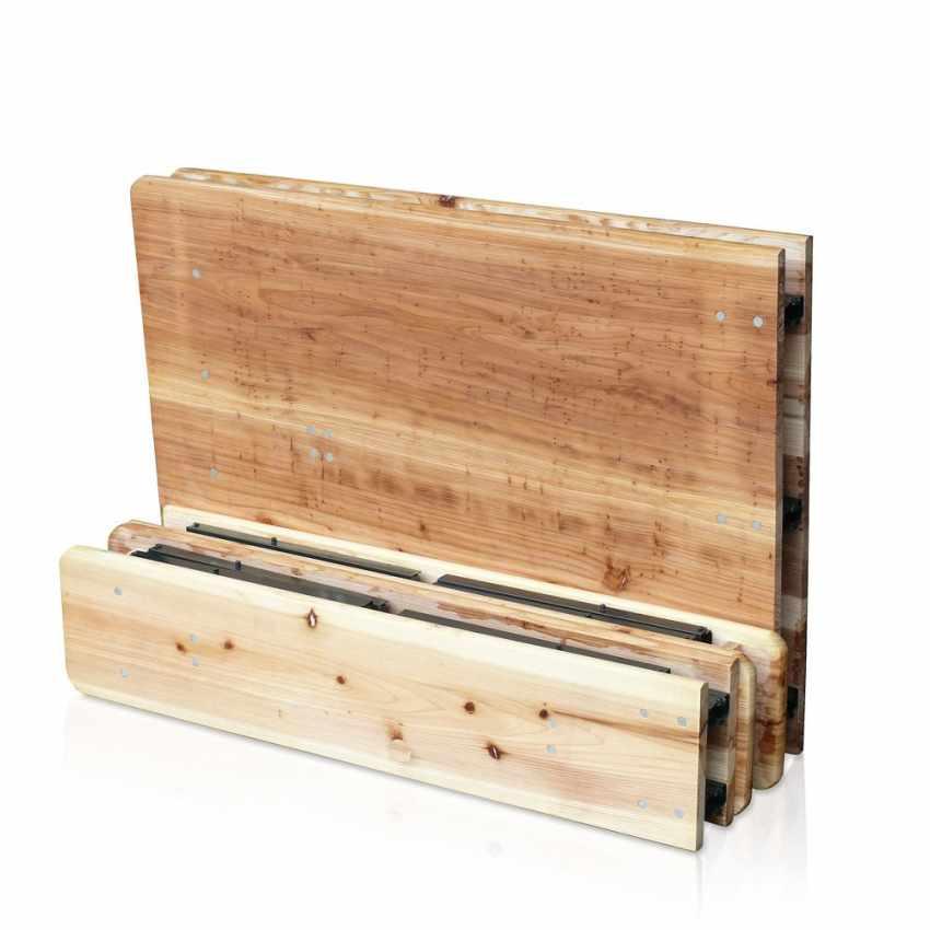 Set birreria pieghevole tavolo panche legno feste giardino sagre 220x80 - discount