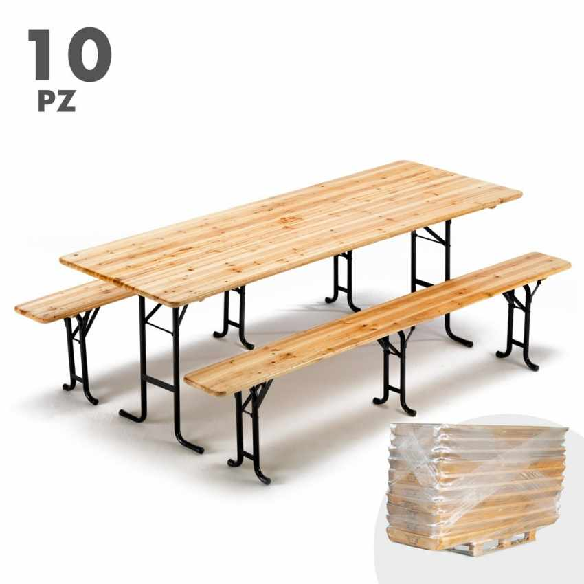 Table de brasserie bancs en bois 3 jambes pliant ensemble 220x80 10 pcs - forniture