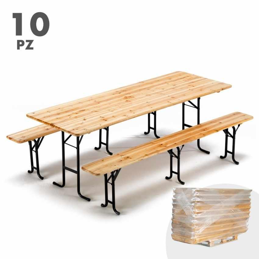Tavoli E Panche Pieghevoli Prezzi.10x Set Panche E Tavoli In Legno 3 Gambe Per Feste Esterni Giardini