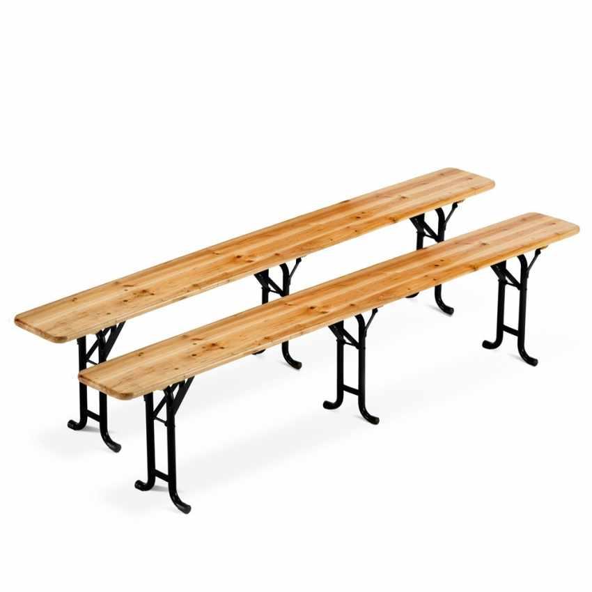 10x Set Panche e Tavoli in Legno 3 Gambe per Feste Esterni Giardini 220x80 - prezzo
