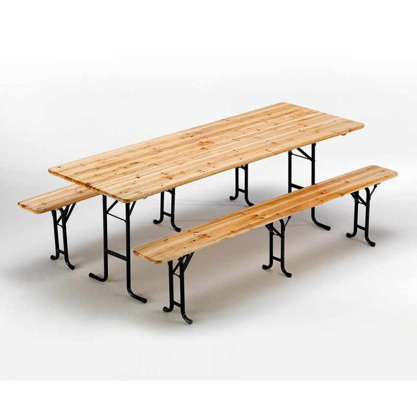 Tavoli E Panche Pieghevoli Prezzi.Set Panche E Tavolo In Legno 3 Gambe 220x80 Per Giardini Esterni
