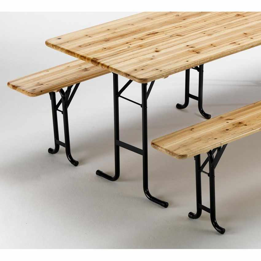 Table de brasserie bancs en bois 3 jambes pliant festival jardin 220x80 - best