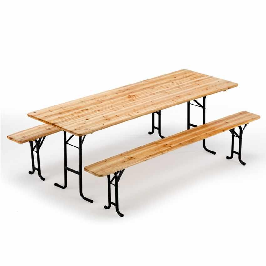 Table de brasserie bancs en bois pliant ensemble 220x80 10 pz - image