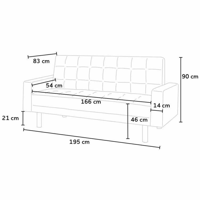 Canapé-lit en simili cuir avec accoudoirs et oreillers double 2 places  AGATA - foto