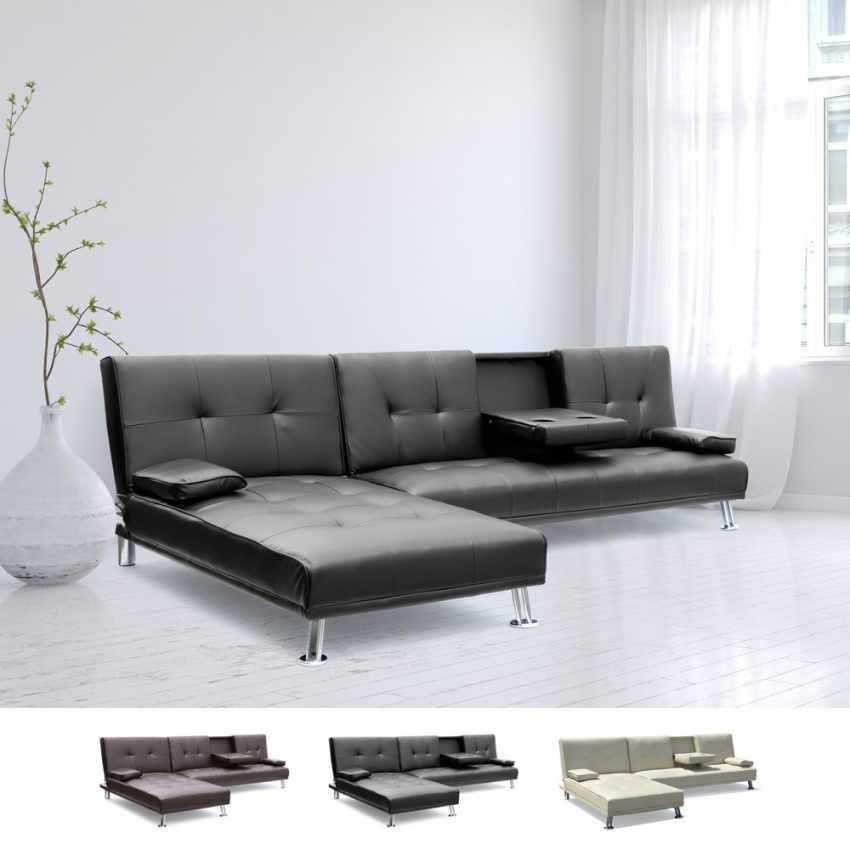 canap d 39 angle clic clac convertible avec p ninsule 3. Black Bedroom Furniture Sets. Home Design Ideas