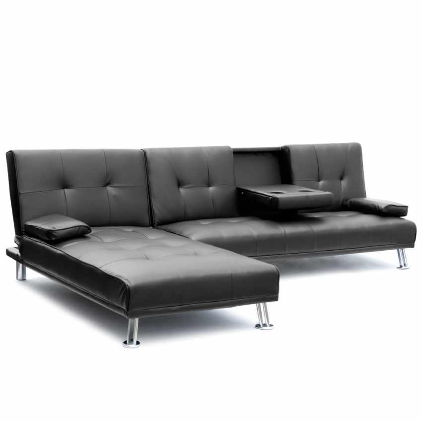 Divano letto ad angolo con bracciolo e penisola 3 posti COBALTO per salotto e soggiorno pronto letto - outdoor