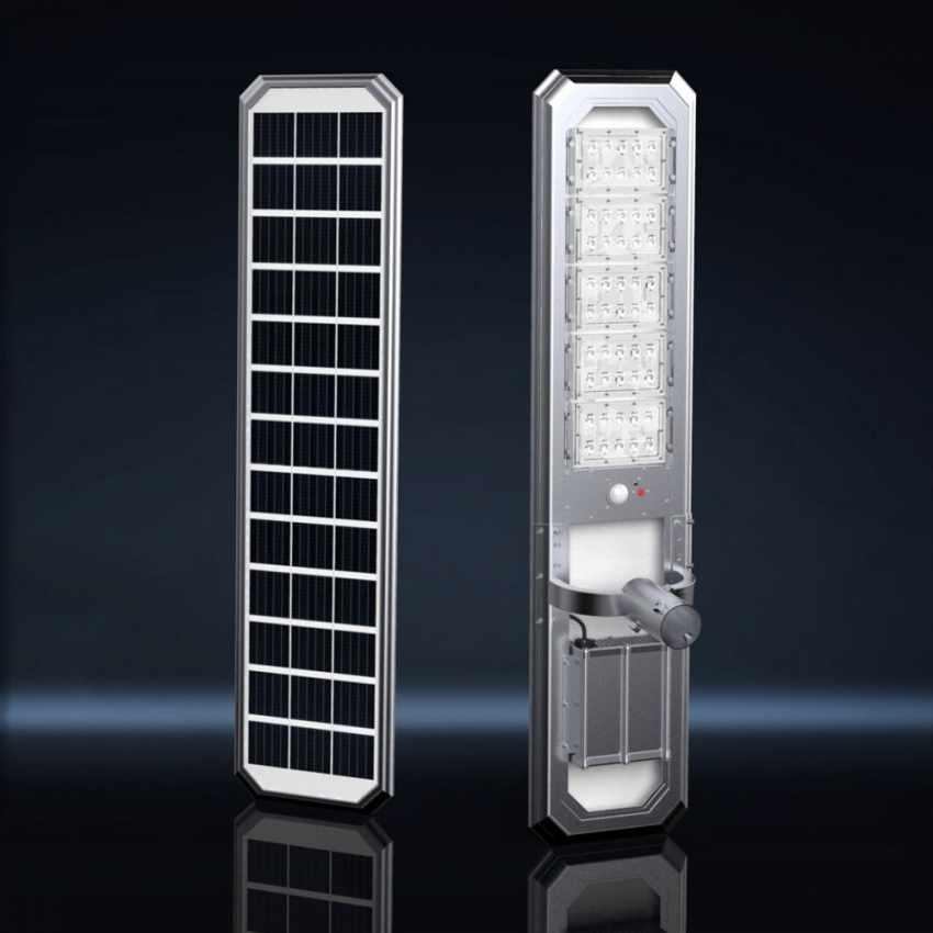 Lampione LED a Energia Solare 5000 Lumen Pannello Fotovoltaico Integrato per Giardino Parcheggio Strada GOLDRAKE - indoo
