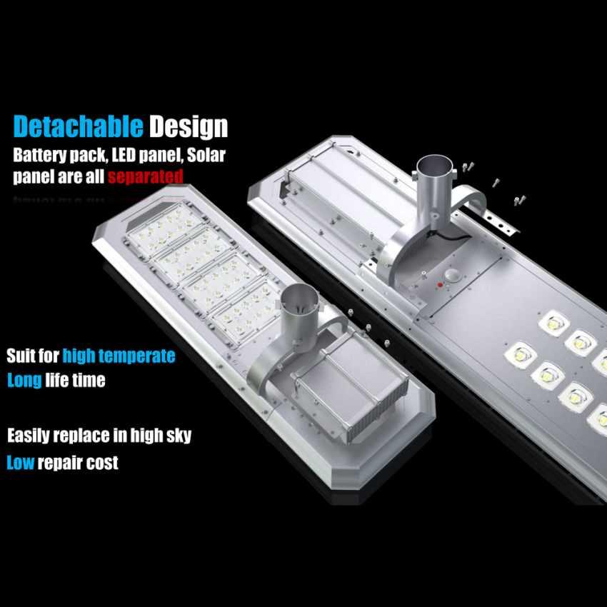 Lampione LED a Energia Solare 2000 Lumen con Pannello Solare e Sensori per Strade Piazze Parcheggi ATLAS - offert