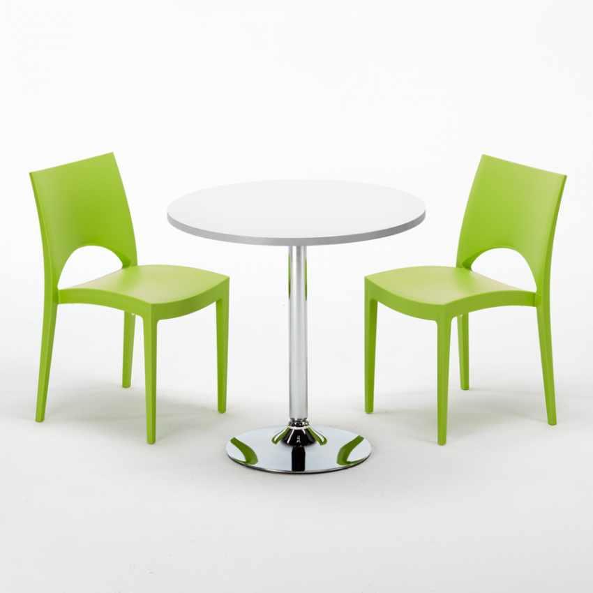 Tavolino Rotondo Bianco 70x70cm Con 2 Sedie Colorate Interno Bar PARIS LONG ISLAND - dettaglio