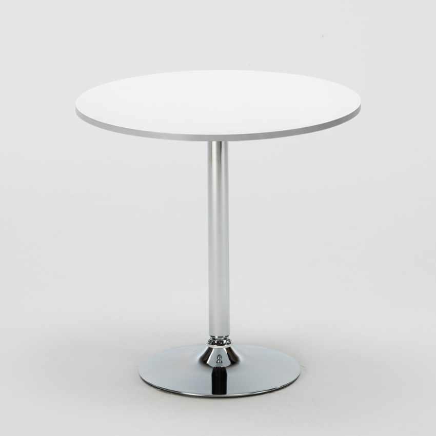 Tavolino Rotondo Bianco 70x70cm Con 2 Sedie Colorate Interno Bar PARIS LONG ISLAND - esterno
