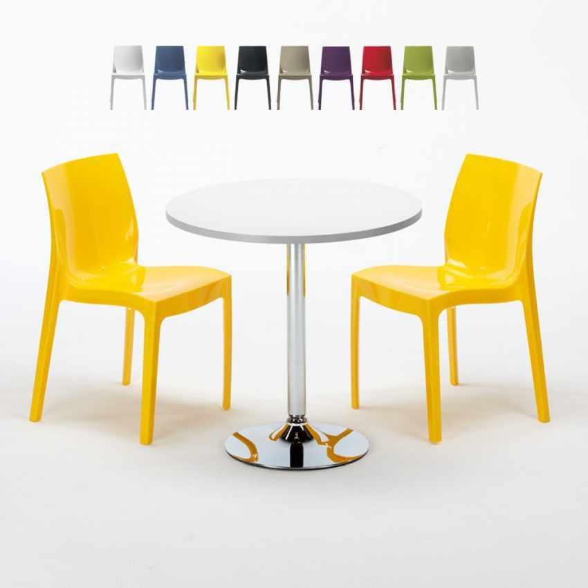 Tavolino Rotondo Bianco 70x70cm Con 2 Sedie Colorate Interno Bar ICE LONG ISLAND - scontato