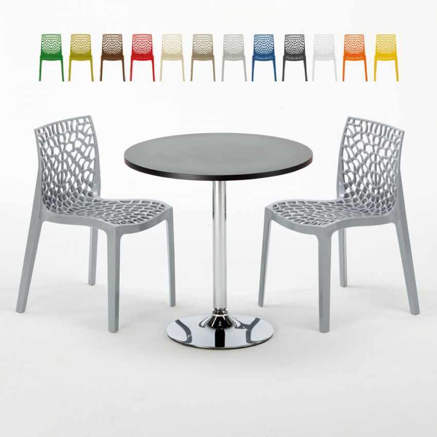 Tavolino Rotondo Nero 70x70cm Con 2 Sedie Colorate Interno Bar GRUVYER COSMOPOLITAN - interno