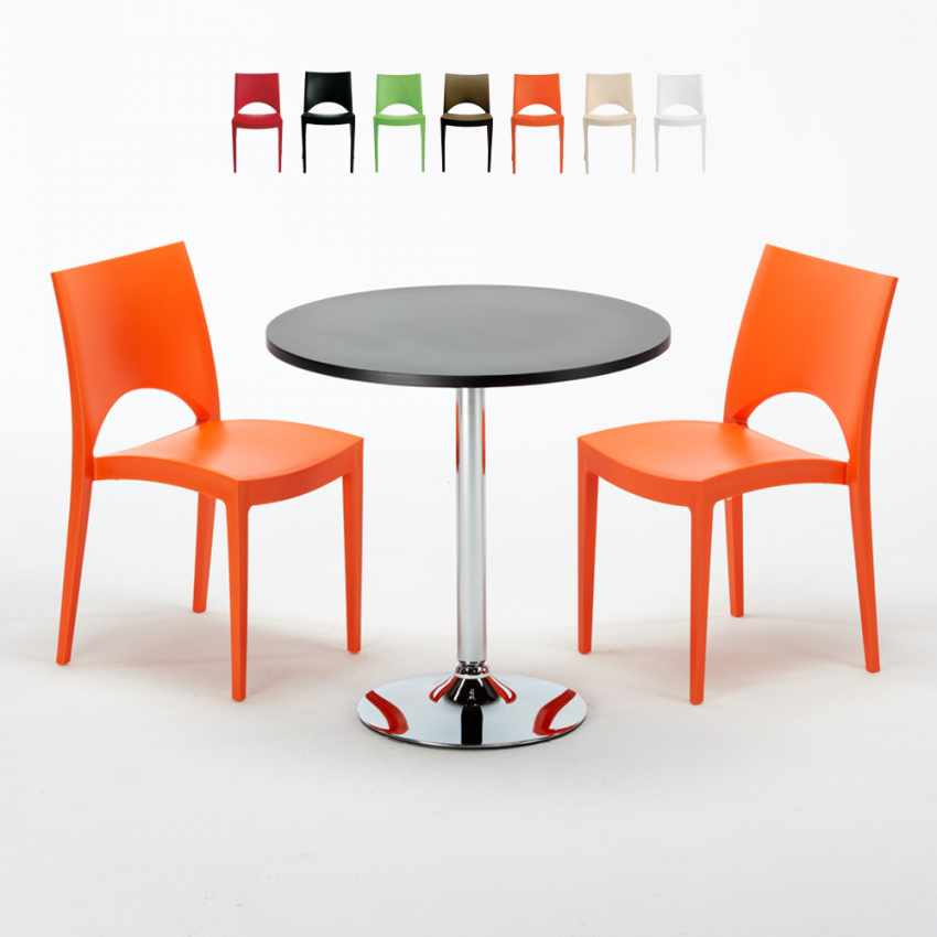 Tavolino Rotondo Nero 70x70cm Con 2 Sedie Colorate Interno Bar PARIS COSMOPOLITAN - vendita