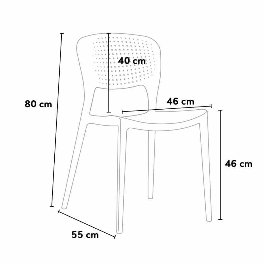 Stock 20 sedie polipropilene colorate impilabile GARDEN GIULIETTA bar ristorante gelateria - details