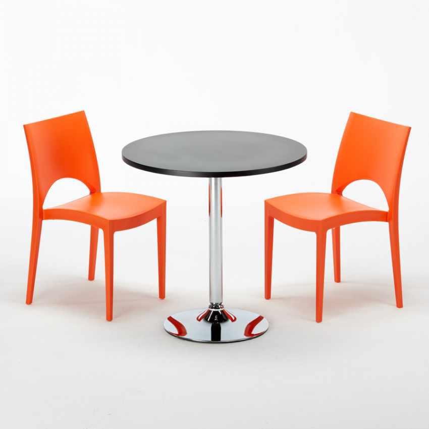 Tavolino Rotondo Nero 70x70cm Con 2 Sedie Colorate Interno Bar PARIS COSMOPOLITAN - immagine