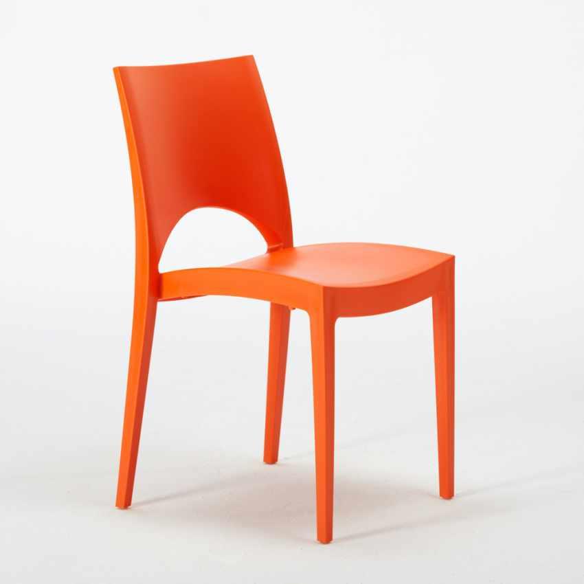 Tavolino Rotondo Nero 70x70cm Con 2 Sedie Colorate Interno Bar PARIS COSMOPOLITAN - nuovo