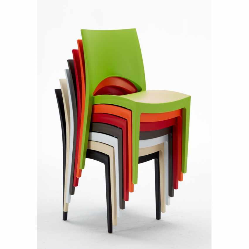 Tavolino Rotondo Nero 70x70cm Con 2 Sedie Colorate Interno Bar PARIS COSMOPOLITAN - dettaglio