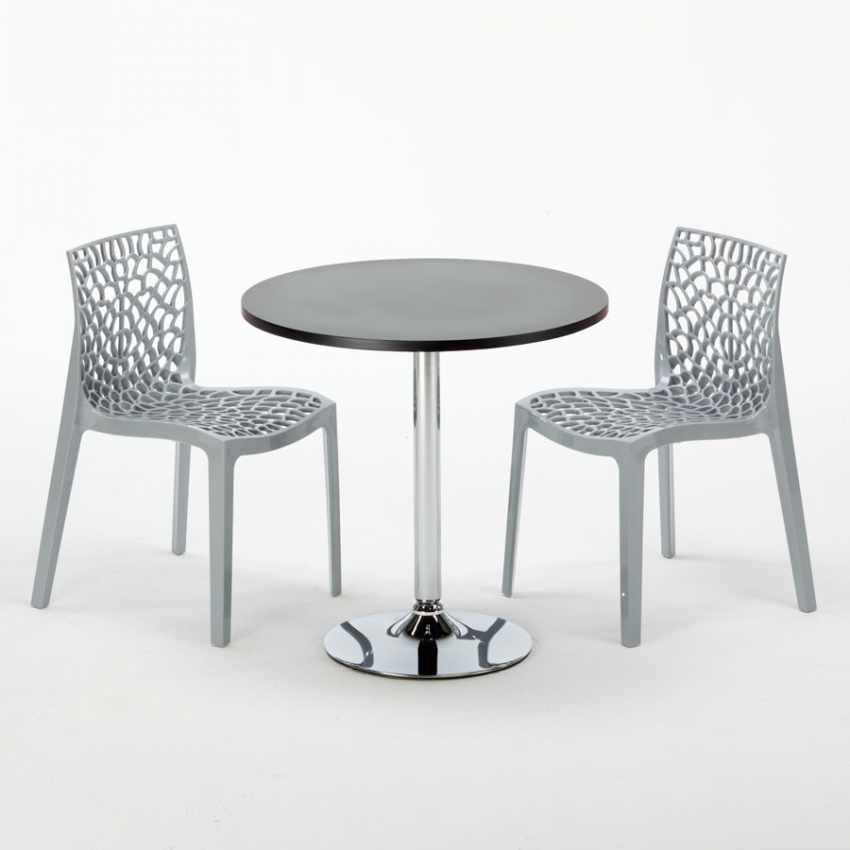 Tavolino Rotondo Nero 70x70cm Con 2 Sedie Colorate Interno Bar GRUVYER COSMOPOLITAN - arredamento