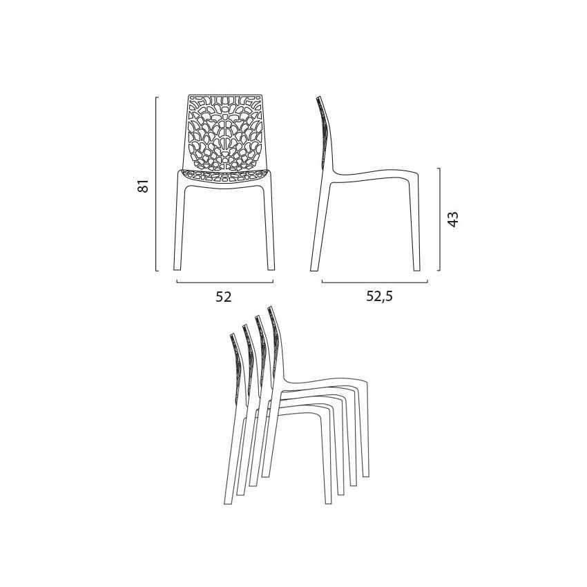 Tavolino Rotondo Nero 70x70cm Con 2 Sedie Colorate Interno Bar GRUVYER COSMOPOLITAN - promo