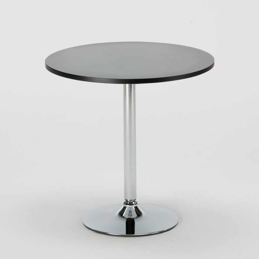 Tavolino Rotondo Nero 70x70cm Con 2 Sedie Colorate Interno Bar GRUVYER COSMOPOLITAN - nuovo