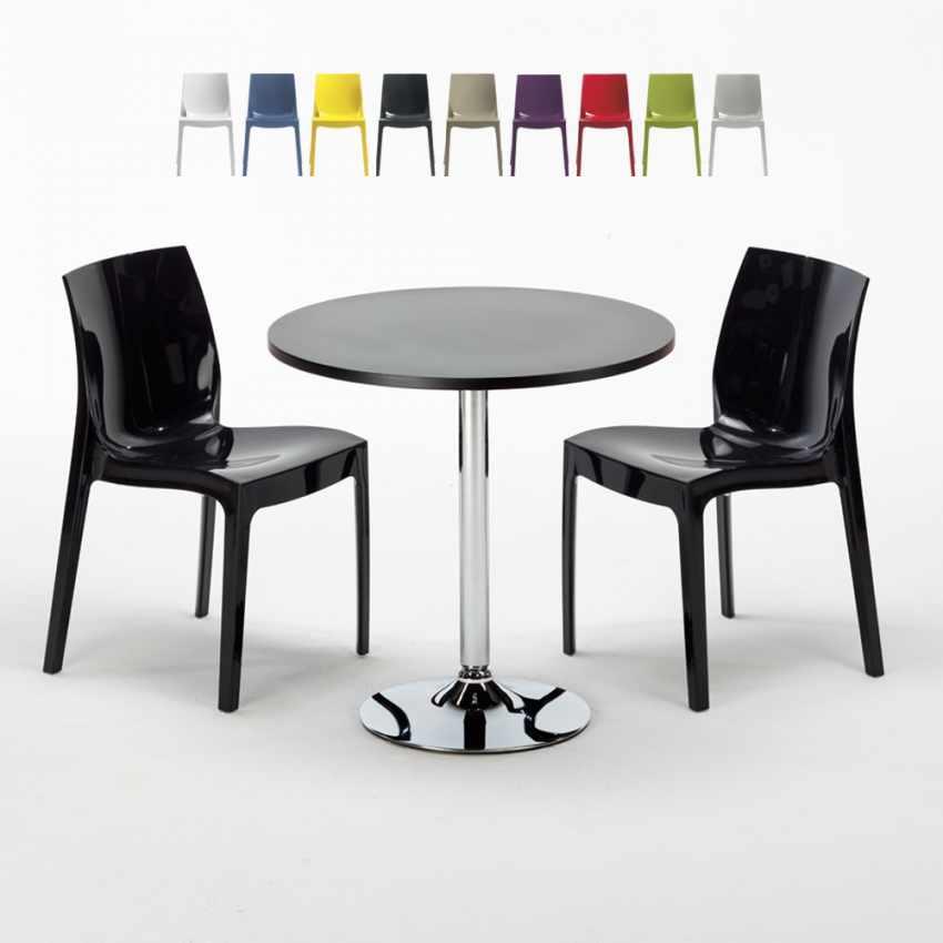 Tavolino Rotondo Nero 70x70cm Con 2 Sedie Colorate Interno Bar ICE COSMOPOLITAN - promo