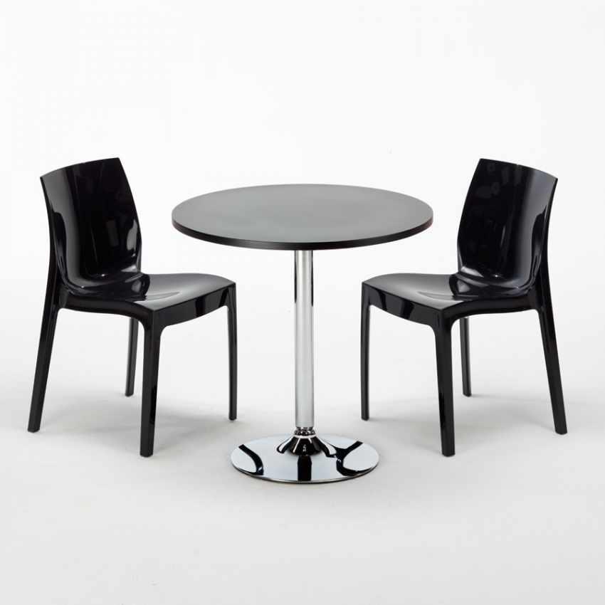 table ronde noire 70x70cm avec 2 chaises color es grand. Black Bedroom Furniture Sets. Home Design Ideas