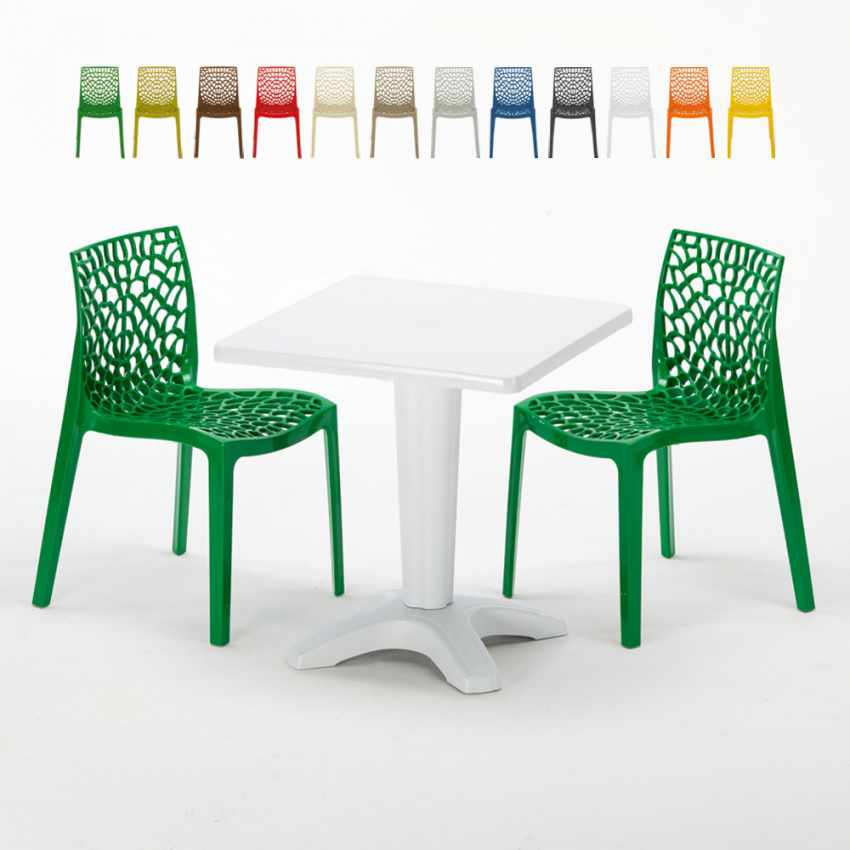 Tavolino Quadrato Bianco 70x70 cm con 2 Sedie Colorate GRUVYER PATIO - discount