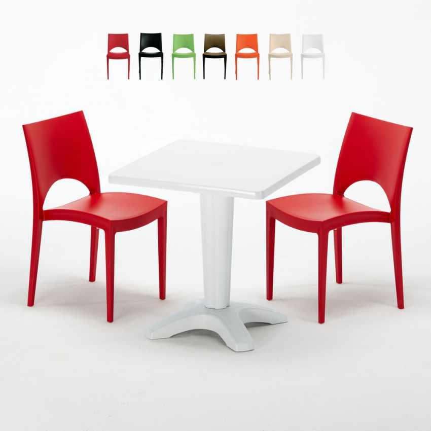 Tavolino Quadrato Bianco 70x70 cm con 2 Sedie Colorate PARIS PATIO - photo