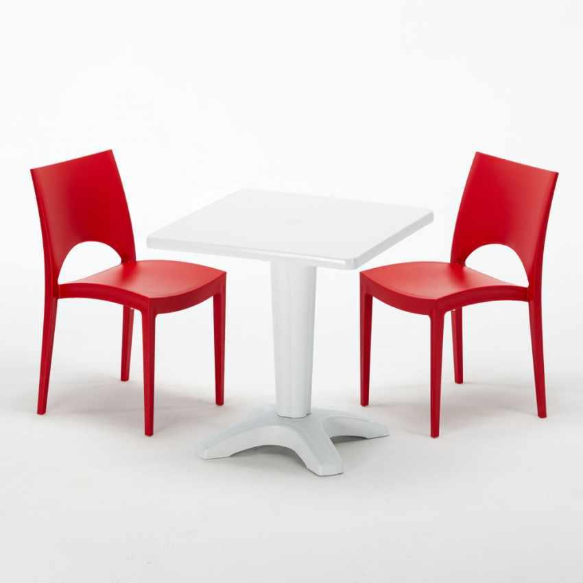 Tavolino Quadrato Bianco 70x70 cm con 2 Sedie Colorate PARIS PATIO - sales