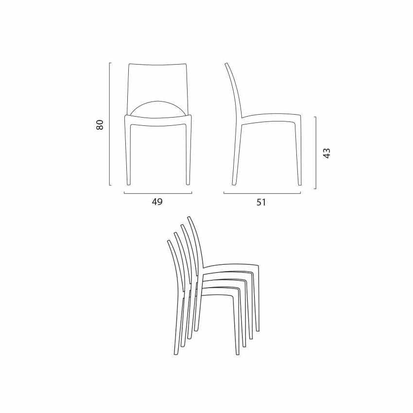Tavolino Quadrato Bianco 70x70 cm con 2 Sedie Colorate PARIS PATIO - forniture