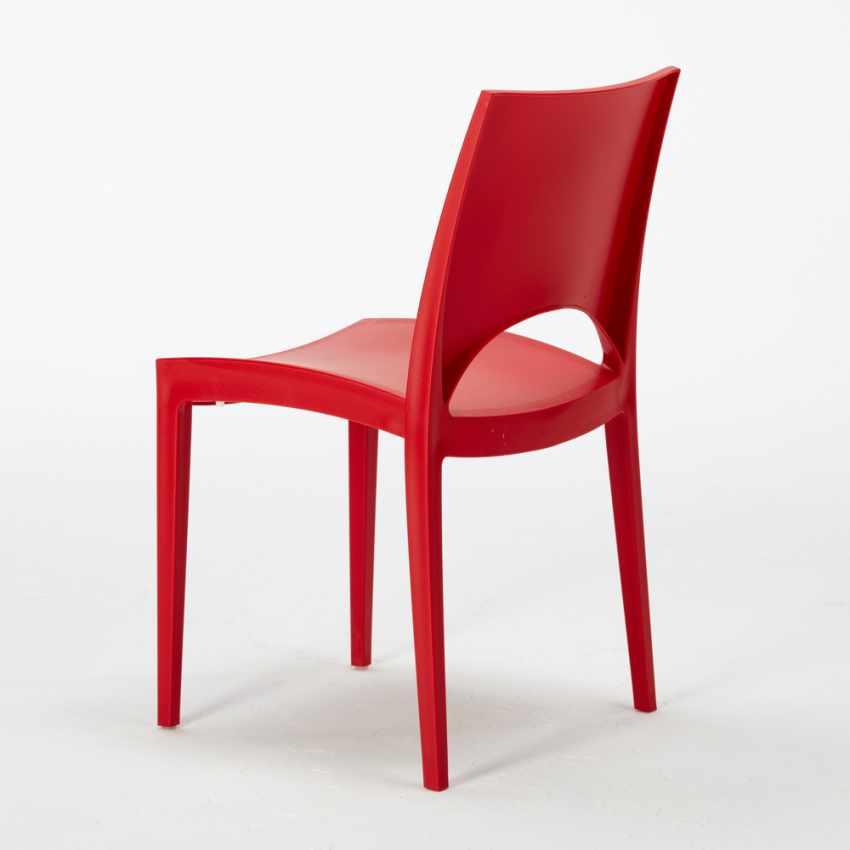Tavolino Quadrato Bianco 70x70cm Con 2 Sedie Colorate Interno Bar PARIS PATIO - dettaglio
