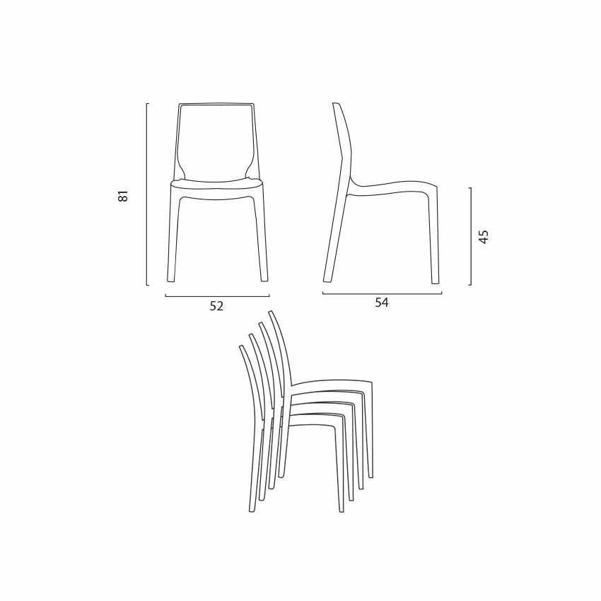 Tavolino Quadrato Bianco 70x70cm Con 2 Sedie Colorate Interno Bar ICE PATIO - immagine