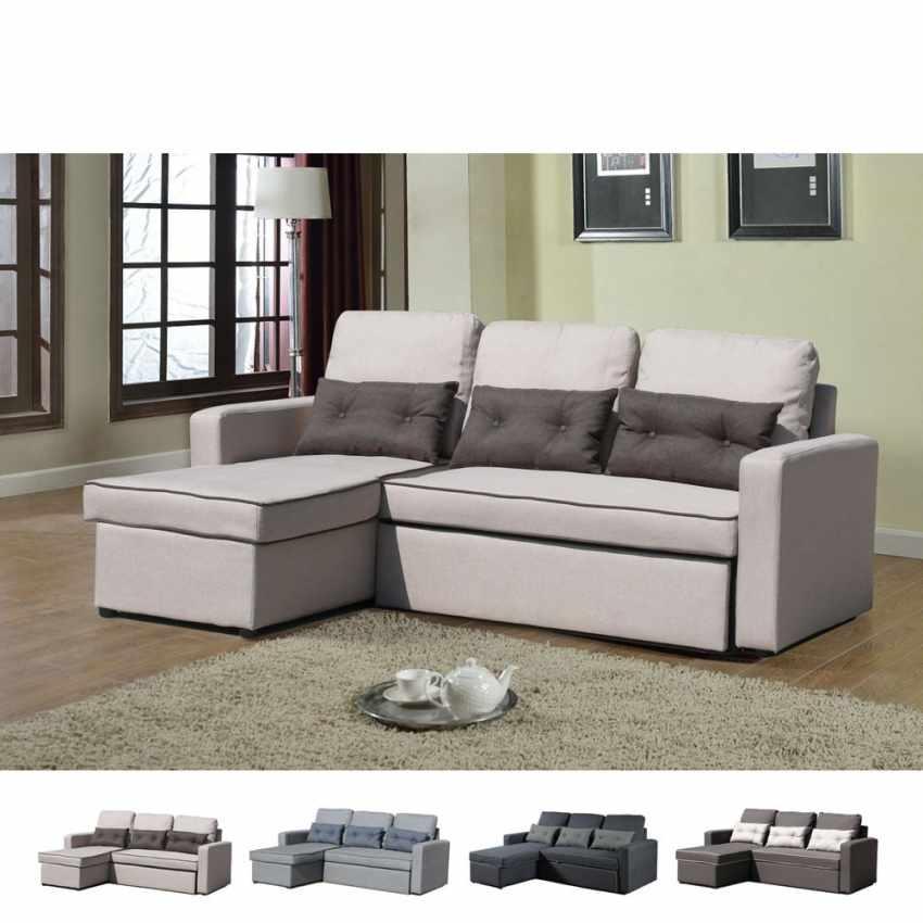 Divano letto con penisola ad angolo modulare 3 posti e cuscini SMERALDO per soggiorni e salotti pronto letto - photo