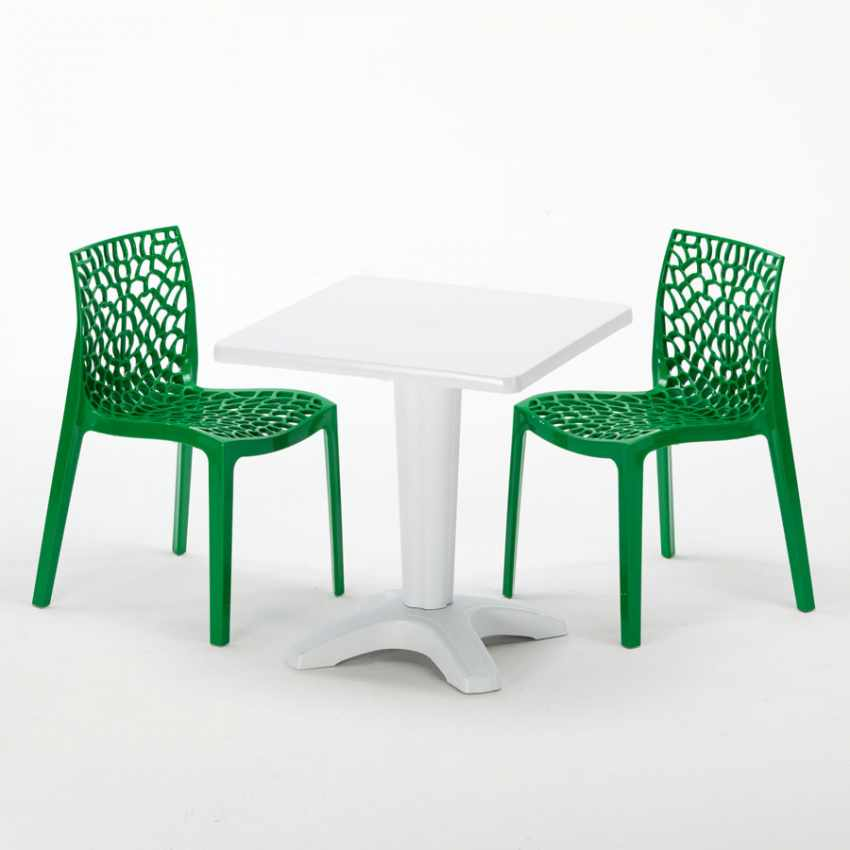 Tavolino Quadrato Bianco 70x70 cm con 2 Sedie Colorate GRUVYER PATIO - indoor