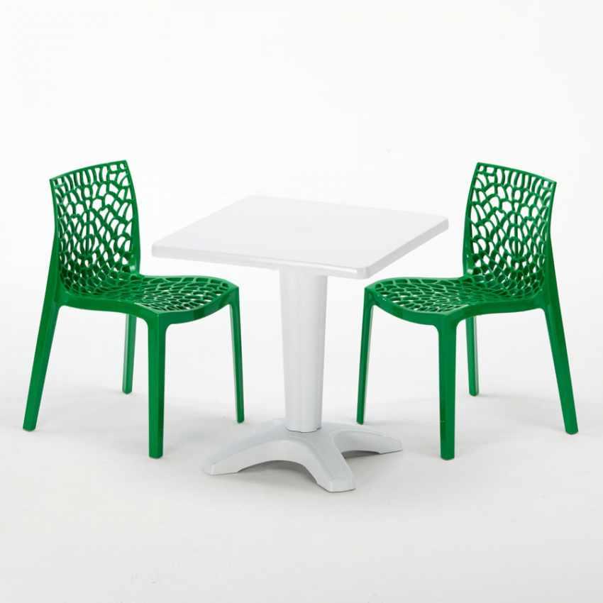 Tavolino Quadrato Bianco 70x70cm Con 2 Sedie Colorate Interno Bar GRUVYER PATIO - offerta