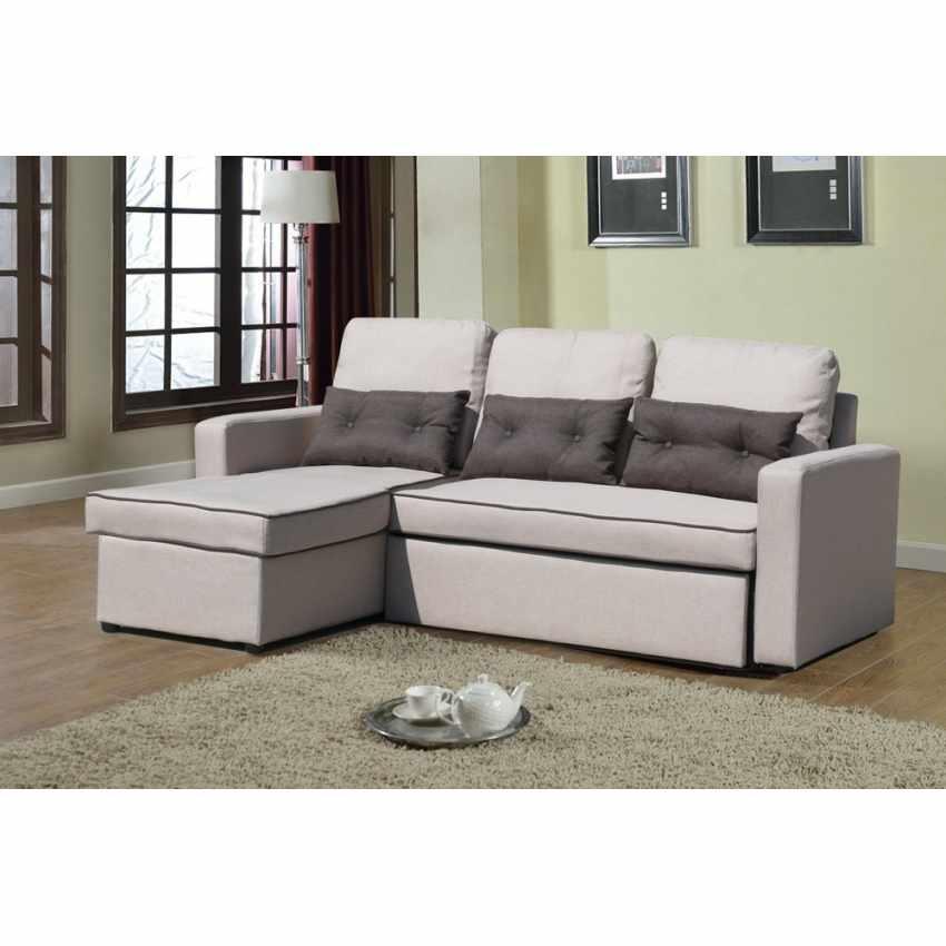 Divano letto con penisola ad angolo modulare 3 posti e cuscini SMERALDO per soggiorni e salotti pronto letto - price