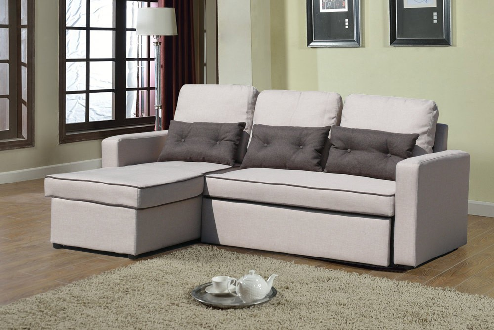 Corner Sofa Bed In Microfiber 3 Seats With Cushions Smeraldo