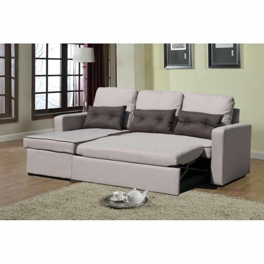Divano letto con penisola ad angolo modulare 3 posti e cuscini SMERALDO per soggiorni e salotti pronto letto - image